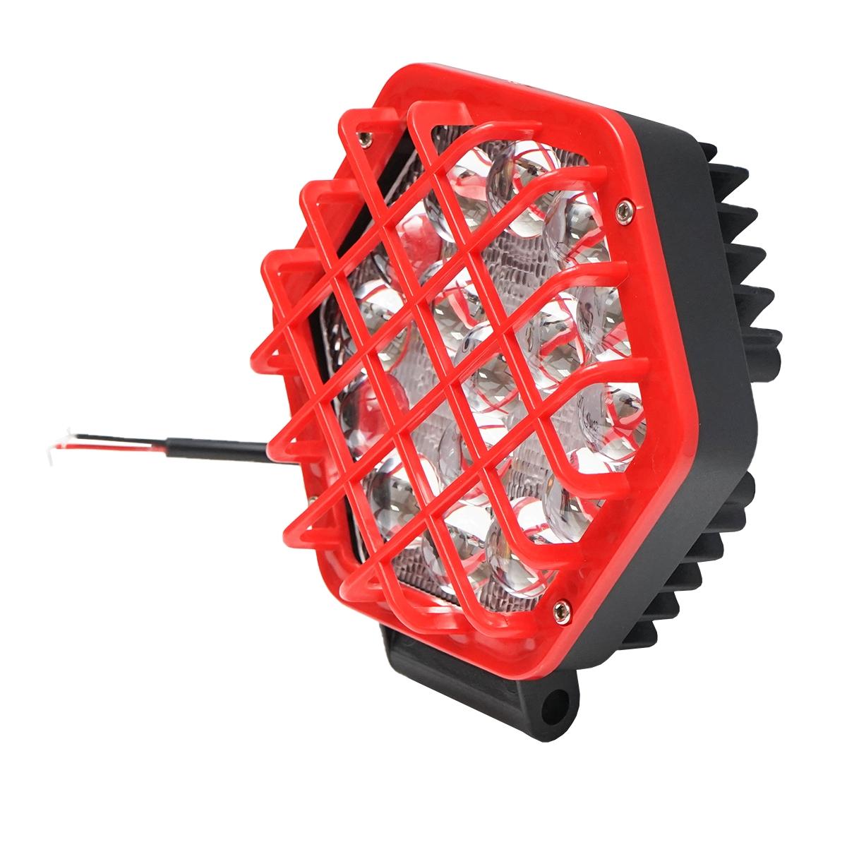 Lampa proiector cu grilaj metalic rosu tip spot, 16 leduri, DC 10-80V 48W unghi de radiere 30 grade