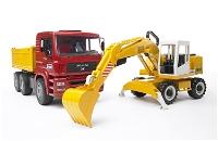Jucarie Camion MAN basculabil cu excavator Liebherr