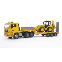 Jucarie Camion MAN cu platforma si excavator JCB 4CX Bruder