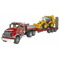 Jucarie Trailer platforma cu tractor MACK si JCB 4CX Bruder