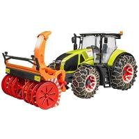 Jucarie Tractor Claas Axion 950 cu lanturi roti si freza zapada Bruder