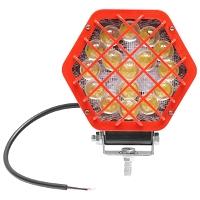 Lampa hexagonala grilaj metalic rosu 16 LED-uri DC 10-80V 48W unghi 60