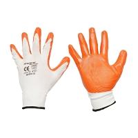 Manusi de protectie sintetice cauciucate alb-portocaliu marimea 10 Breckner Germany