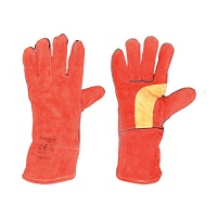 Manusi pentru sudura piele spalt rosii marimea 14 cu dublura la deget Breckner Germany