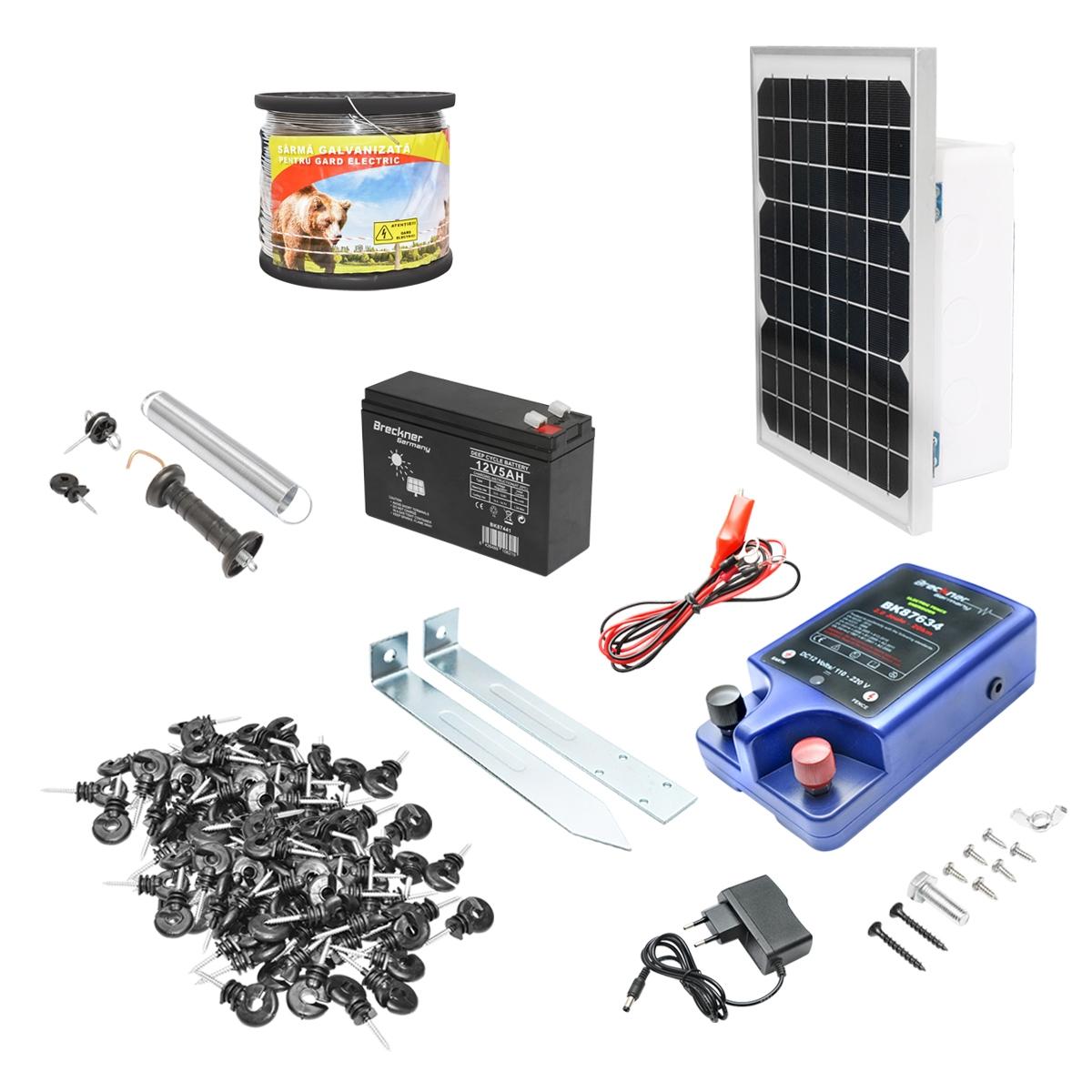 Kit complet gard electrif 12-220V 2 Joule cu panou solar 10W, 1000m sarma, 100 izolatori, kit poarta Breckner Germany