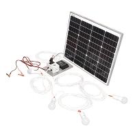Set panou solar 50W 12-24V priza bricheta cu 4 becuri 5W Breckner Germany