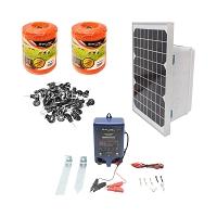 Kit complet gard electric 12V 0.6 Joule, lungime fir 1000m, panou solar 10W, 2X baterie 12V/5Ah, 100 izolatori si kit poarta Breckner Germany
