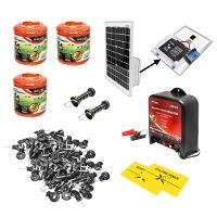Kit complet gard electric 12V 2.5 Joule, lungime fir 1500m, panou solar 20W, baterie 12V/17Ah, 200 izolatori si maner poarta Breckner Germany