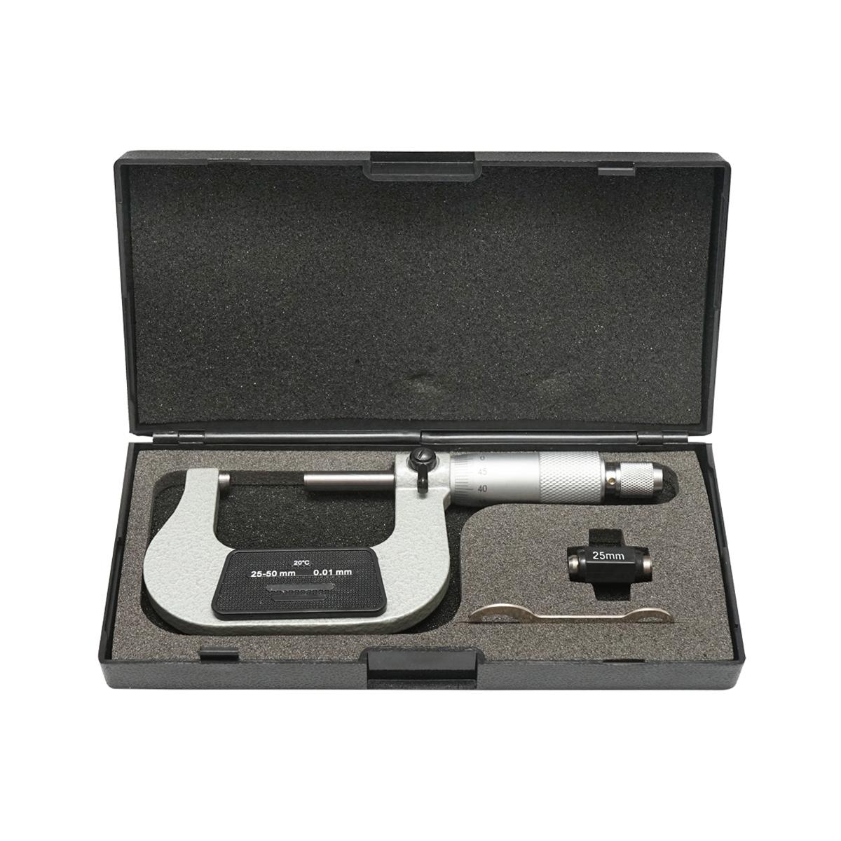 Micrometru mecanic de exterior cu cadru emailat, metric 25-50 mm