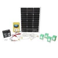 Set panou solar 670x540x30mm 50W 12-24V baterie 12/17Ah priza bricheta 4 becuri 9W Breckner Germany