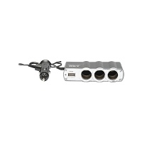 Adaptor triplu bricheta si 1 port usb cu cablu 1m